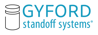 We are Standoff Systems. Original sign Standoff designer and leading USA manufacturer of decorative mounting hardware, called Gyford Standoff Systems®.