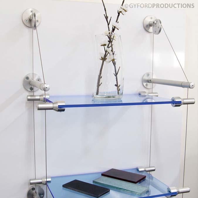 Wire Suspended Shelf with Plexy Glass