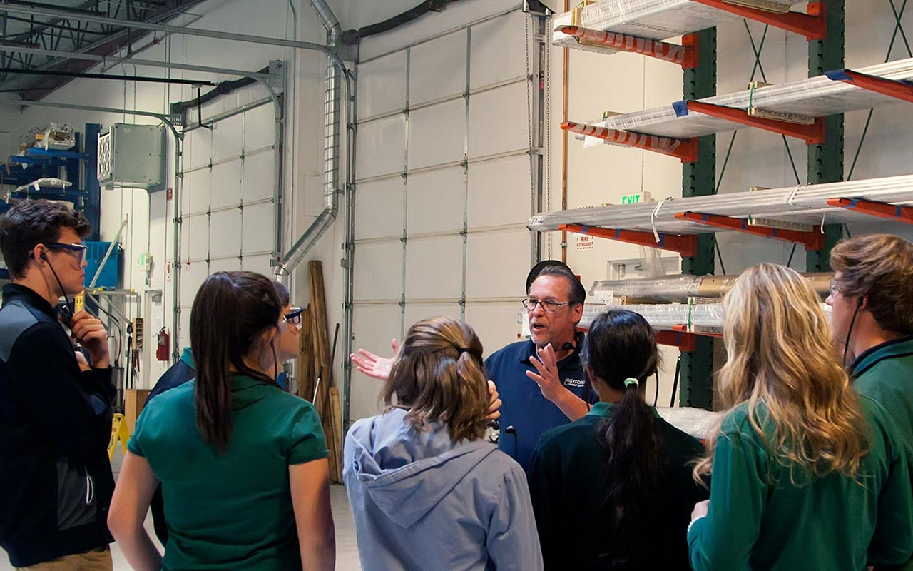 students on tour of gyford productions manufacturing facility